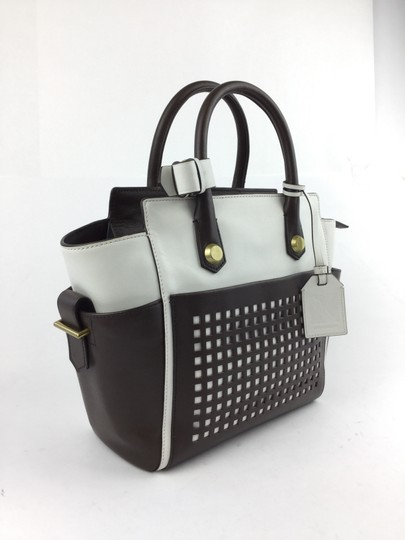Reed Krakoff Leather Perforated Studded Satchel in White/ Brown