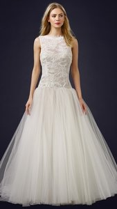 ccd116132ef9e Theia Ivory Off White Lace Tulle 890038 Bodice Ball Gown Wedding Dress Size  12