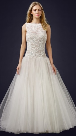Theia Ivory/Off White Lace/Tulle 890038 Bodice Ball Gown Wedding Dress Size 12 (L)