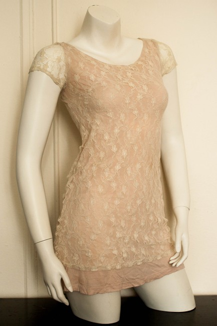 Pins and Needles short dress beige, peach, pink Boho Bohemian Babydoll Grunge Skater Keyhole Back Keyhole Hippy Hippie Hipster Uo Urban Outfitters Skater Sumer on Tradesy