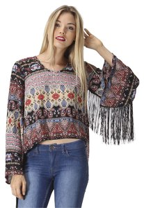 See You Monday Fringe Split High Low Boho Gypsy Festival Top Black Tan Multi