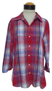 Westbound Crinkle 3/4 Sleeve Patriotic Button Down Shirt Red White and Blue Plaid