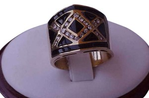 Estate Art Deco 14k Yellow Gold Black Enameled Ring with .50carats Diamonds , Amazing!!!