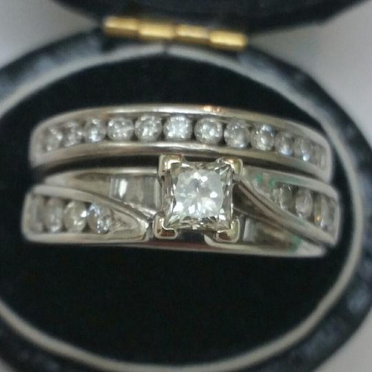 Vintage 14k White gold 1.5 ct Diamond Wedding Bridal Ring Set