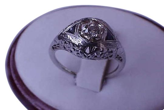 Vintage 18kt White Gold Solitaire Diamond and Sapphires Filigree Ring