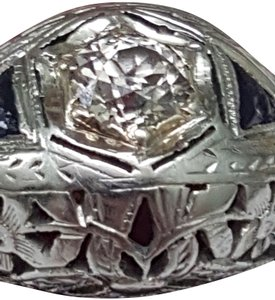Antique Antique18kt White Gold Solitaire .65ct Diamond Sapphire Filigree Ring
