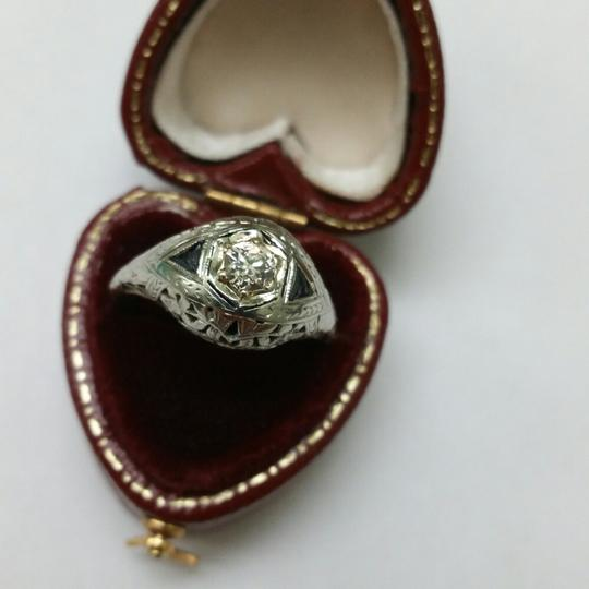 Antique 18kt White Gold Solitaire .65ct Diamond Sapphires Filigree Ring
