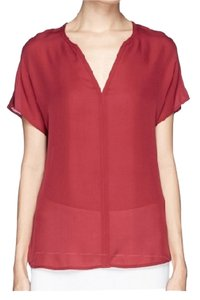 Vince Silk Burgundy V Neck Top Deep Red (burgundy)