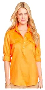 Ralph Lauren Exclusive Collection Shirt Lightweight Linen Machine Wash Camp Shirt Big Shirt Button Down Shirt Orange