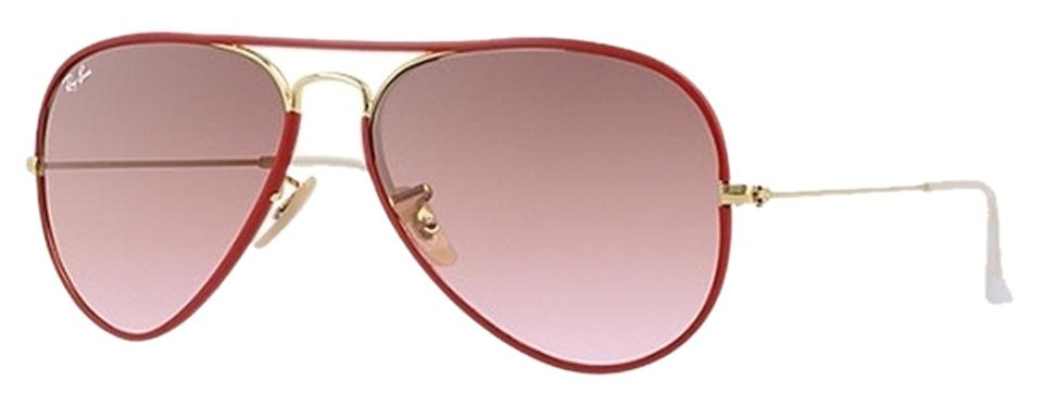 Ray-Ban Gold with Red Frame Aviator Sunglasses - Tradesy