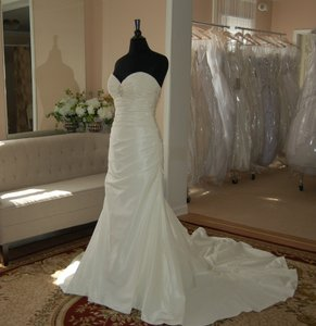 David Tutera For Mon Cheri Rich Taffeta Fitted With Illusion Bolero Jacket Wedding Dress