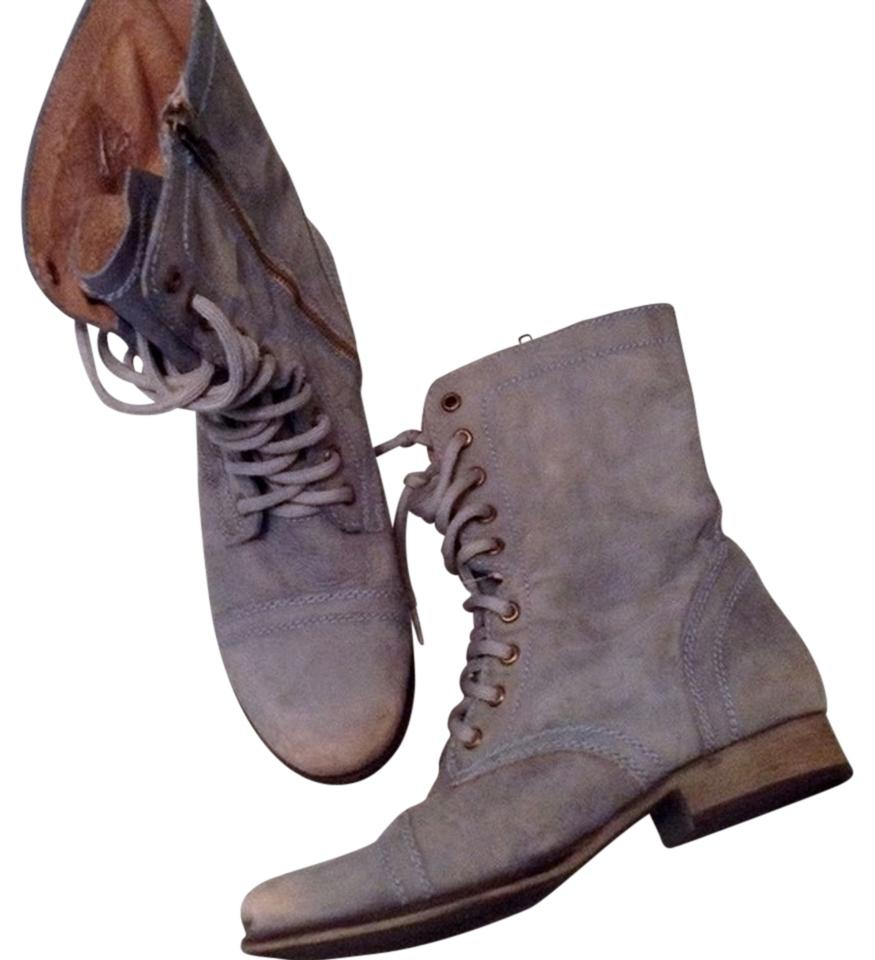 8e10da491d4 Steve Madden Troopa Combat Military Zip Distressed Lace Up Leather Light  Blue Boots Image 0 ...
