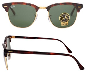 Ray-Ban Authentic Ray Ban Clubmaster RB3016 W0366 Tortoise Frame G-15 Dark Green Lens Size 51mm