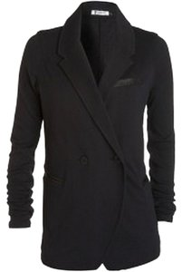 T by Alexander Wang Leather Cotton Jacket Classic Black Blazer