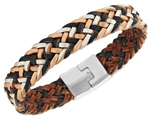 Fossil Fossil Bracelet Metallic Leather Weave Fishtail Braid Stainless Steel JF00996