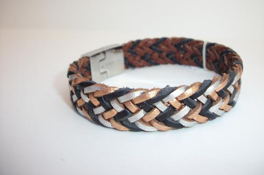 Fossil Fossil Bracelet Metallic Leather Weave Fishtail Stainless Steel JF0099