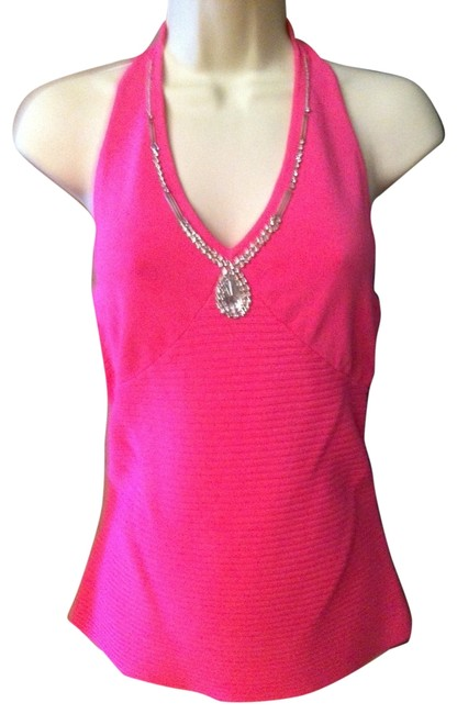 Item - Pink Rhinestone Trimmed Bodice Outlines Cleavage Halter Top Size 8 (M)
