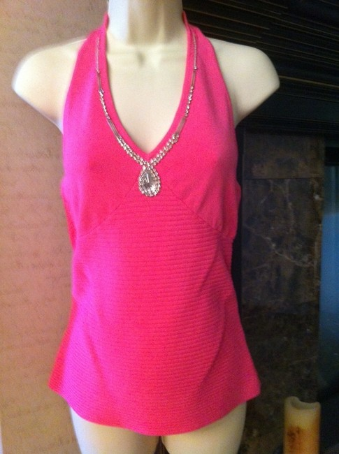 Radzoli Rhinestone Trimmed Bodice Outlines Cleavage pink Halter Top