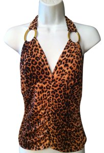 Envy Leopard Print Halter Gold Ring rust and black Halter Top