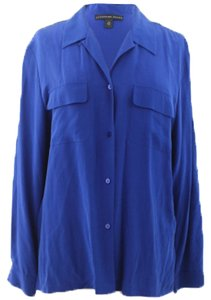 Josephine Chaus Button Down Shirt Cobalt Blue