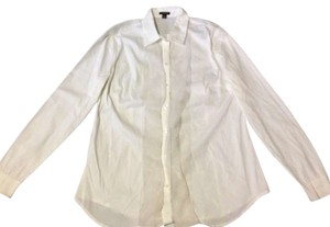 Ann Taylor Ruffles Cufflink French Cuff Pearl Polished Sleek Classic Button Down Shirt Ivory