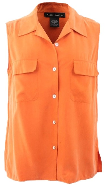 Anne Carson Button Down Shirt Orange