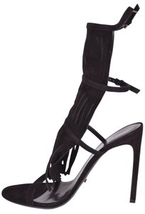 Gucci Suede Fringed Ankle Strap Becky Gladiator Sandals BLACK Pumps