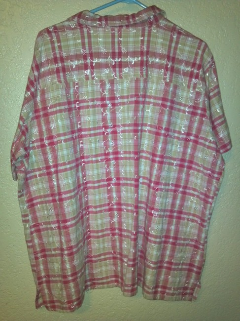 Bobbie Brooks Button Down Shirt white and pink