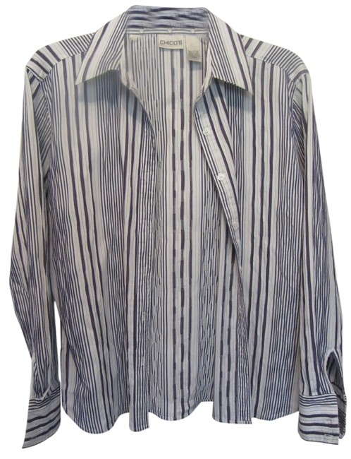 Chico's Top white with blue stripes
