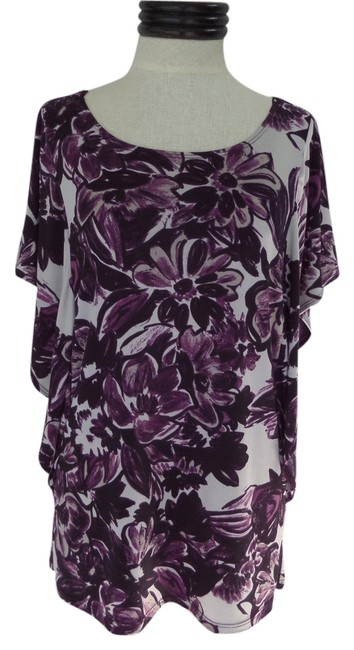 Lucy Laurel Wing Sleeve Top White with Purple Floral Print