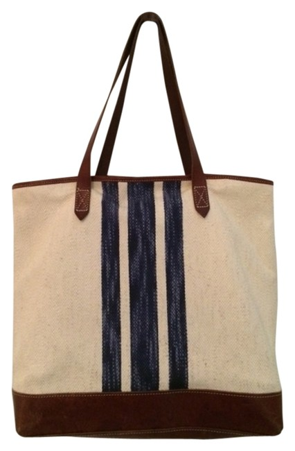 Item - Strippee Transport Ivory and Blue Cotton Leather Tote