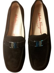 Salvatore Ferragamo Suede Buckle Made In Italy Black Flats