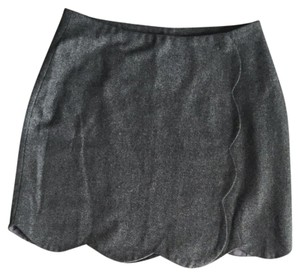 Pim + Larkin Scalloped Wool Preppy Mini Skirt Gray