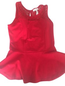 Ambiance Apparel Night Out Lace Top Red