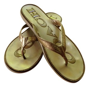 Coach Leather Flip Flops White Gold Sandals