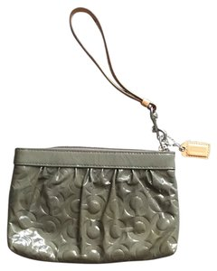 Coach Logo Patent Leather Wristlet Gray Clutch