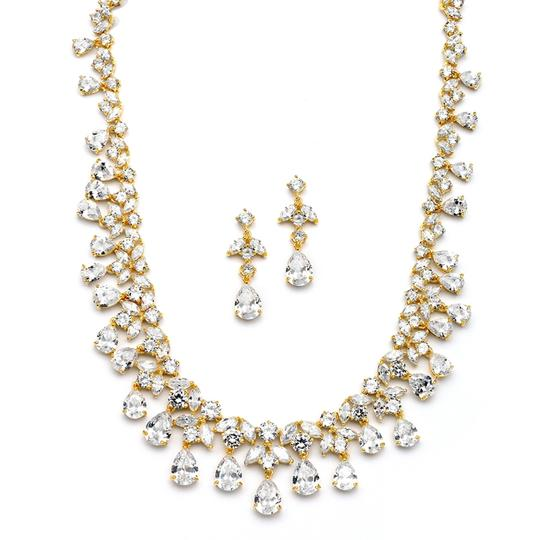 Gold Hollywood Glamour Stunning Crystal Statement Necklace Earrings Jewelry Sets