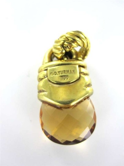 David Yurman 18KT YELLOW GOLD PENDANT DAVID YURMAN CITRINE 32 DIAMOND 11.0DWT DESIGNER LUXURY