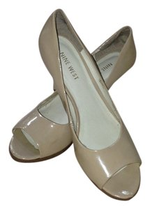 Nine West Peep Toe Leather Nude Pumps