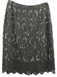 EMMA BLACK Embellished Silk Evening 6 Skirt