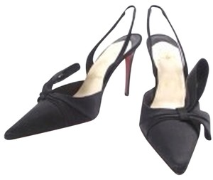 Christian Louboutin Satin Bow Slingback Black Pumps