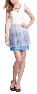 Anthropologie short dress White and blue Sophie Duran Floating Fjords on Tradesy