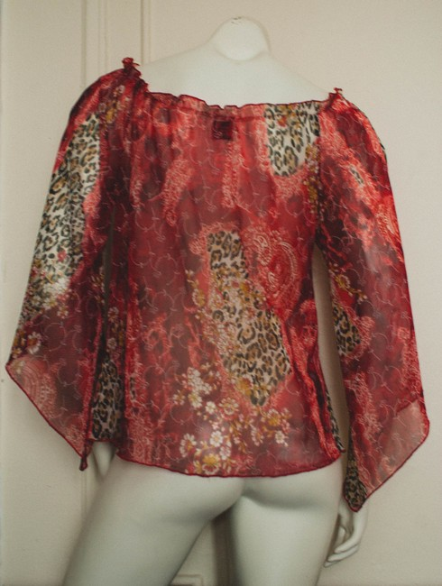 New Shine Blouse Blouse Hippy Hippie Boho Bohemian Cochella Lace Mesh Cheetah Print Leopard Leoard Print Animal Print Indian East Tunic