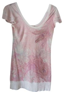 Sweet by Miss ME Top Light Pink and White