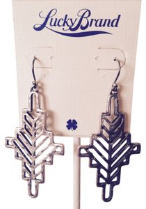 Lucky Brand Aztec Hammered Silver-Tone Dangle Earrings