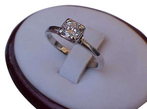 Vintage Antique 14k white gold ring with .50ct brilliant cut diamond