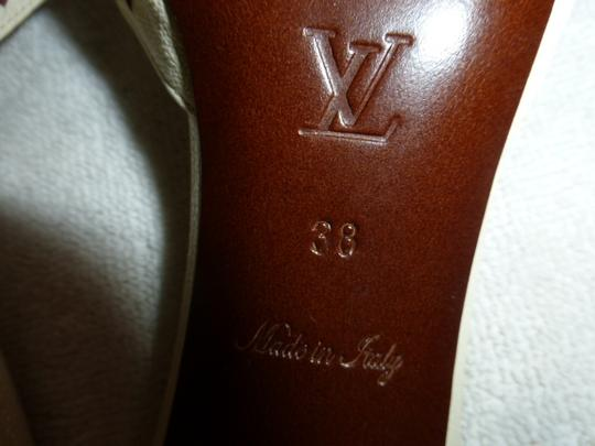 Louis Vuitton OFF WHITE LEATHER W/ BROWN STITCH Mules