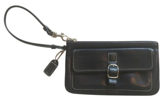 Coach Leather Silver Hardware Soft Wristlet in black