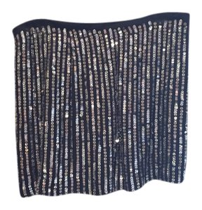 Theory Mini Skirt Black, Silver Sequined