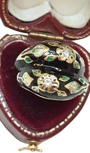 Other Antique 18kt Yellow Gold Diamond Multi Color Enameled Ring